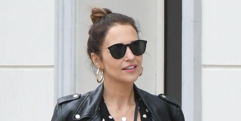 Clothing, Leather, Jacket, Leather jacket, Street fashion, Eyewear, Polka dot, Sunglasses, Fashion, Outerwear,