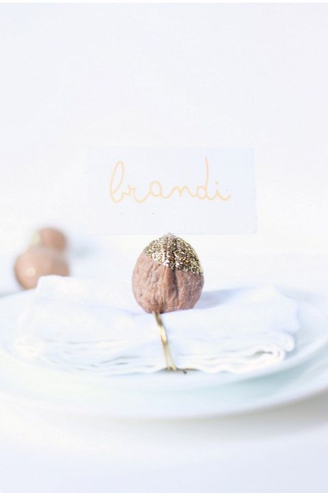 glittered walnut place cards