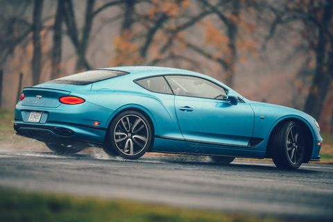 bentley continental gt v8 at road  track's performance car of the year tests