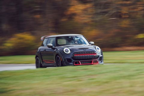 mini cooper jcw at road  track's performance car of the year tests