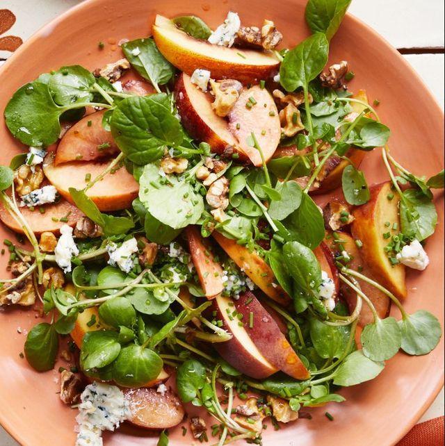 summer salads  peach blue cheese and walnut salad