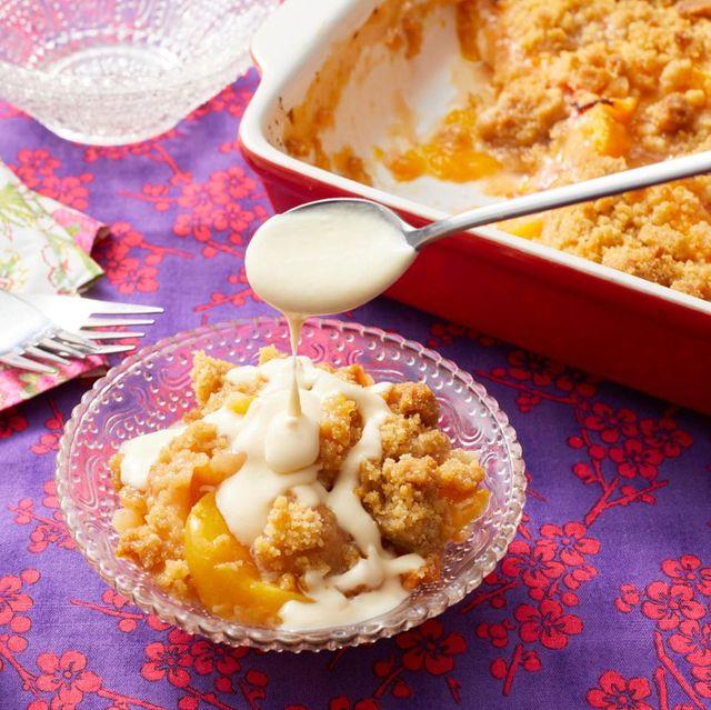 peach desserts peach crisp with maple cream sauce