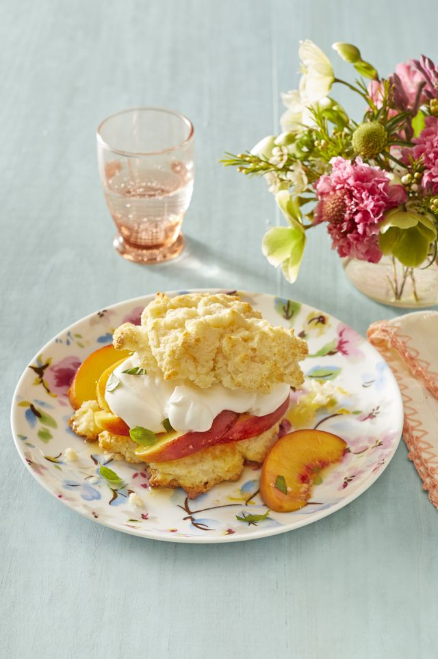 peaches and cream shortcakes with basil