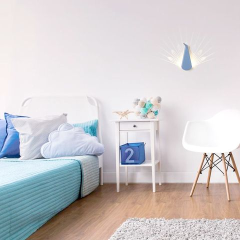 Furniture, Bedroom, Blue, Room, Bed, White, Product, Turquoise, Interior design, Property,