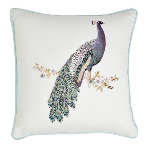 Peacock-printed cushion, Laura Ashley, £37.50