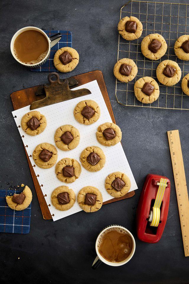 peanut butter candy bar thumbprint cookies