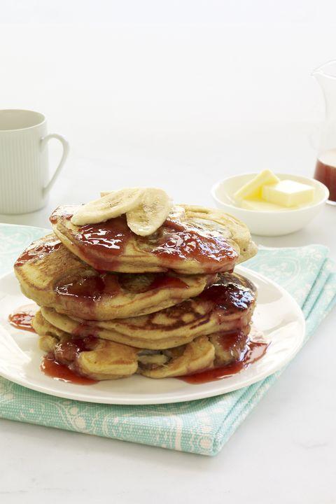 kid-friendly breakfast recipes -PB and J Banana Pancakes
