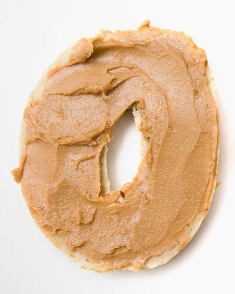 Peanut butter on bagels