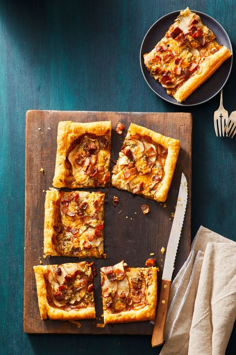 pear, bacon, and blue cheese tart