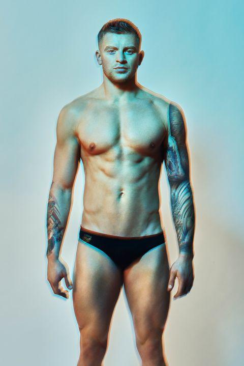 Barechested, Undergarment, Briefs, Underpants, Undergarment, Blue, Muscle, Clothing, Model, Abdomen,