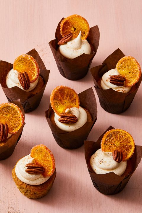 pecan cupcakes with spiced vanilla frosting