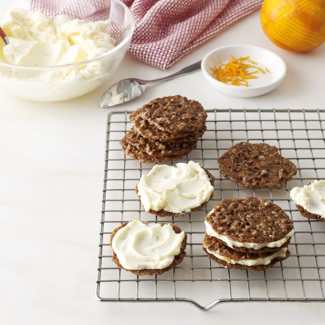 pecan lace cookie sandwiches