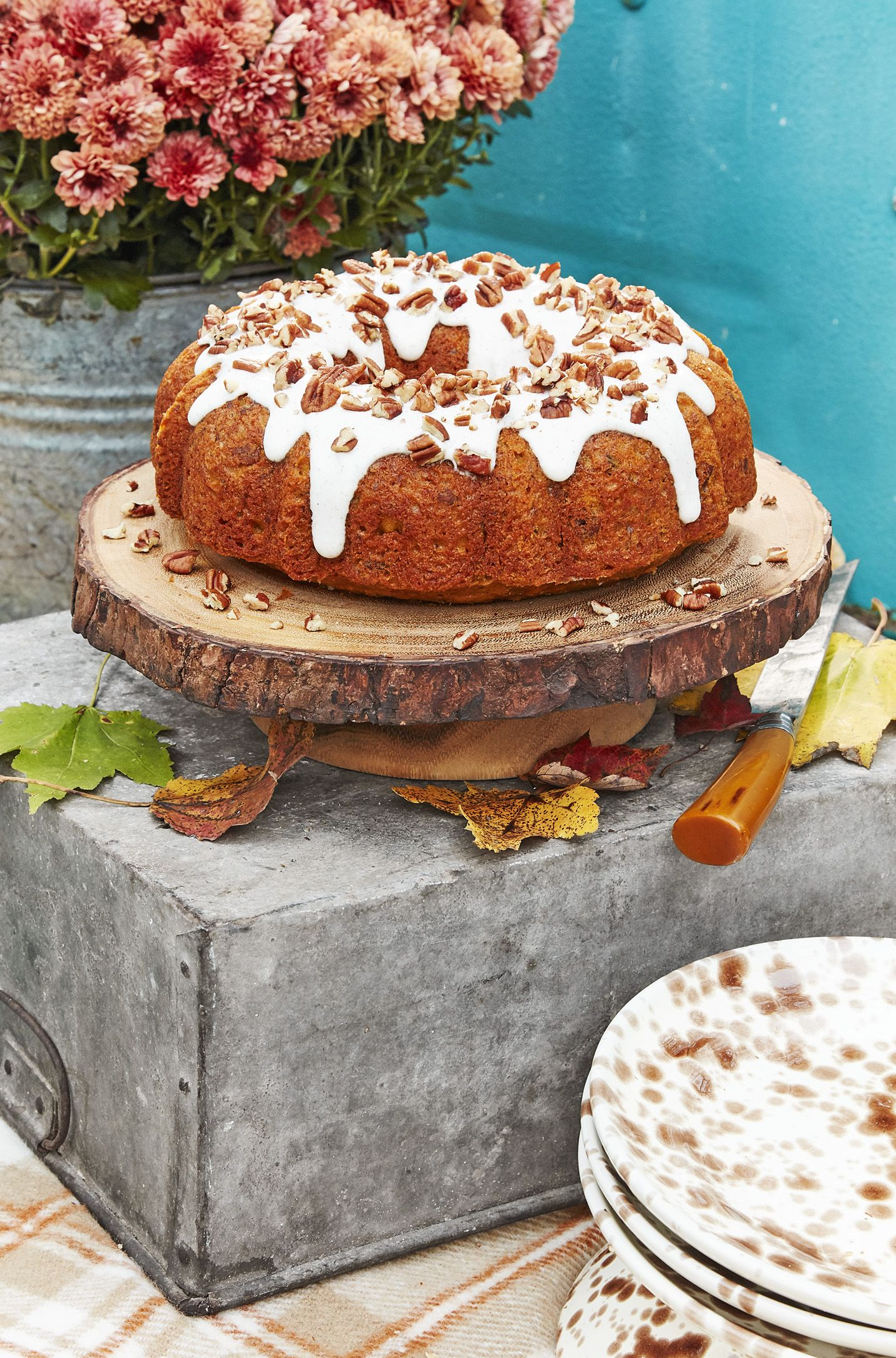 Pecan-Pumpkin Bundt Cake with Cream Cheese Glaze
