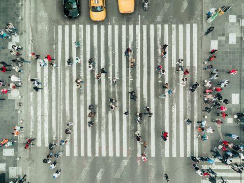 Pedestrians on zebra crossing, New York City