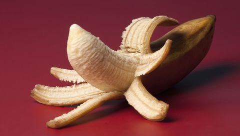 A peeled banana suggestive of an erect penis