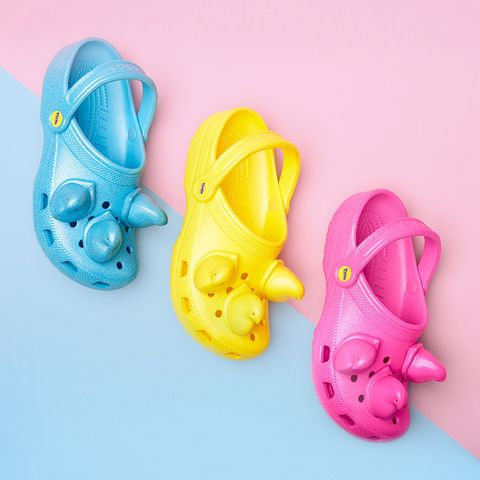 Footwear, Shoe, Yellow, Pink, Slipper, Font, Jelly shoes, Sandal, Child, Toddler,