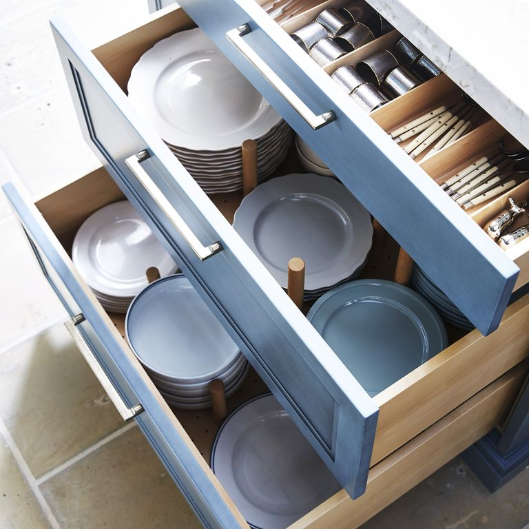 طريقة تقسيم أدراج المطبخ - الأوتاد الخشبية المنظمة للأدراج