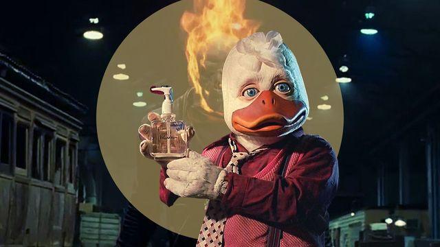 howard el pato y el motorista fantasma en dos fotogramas de las películas de marvel