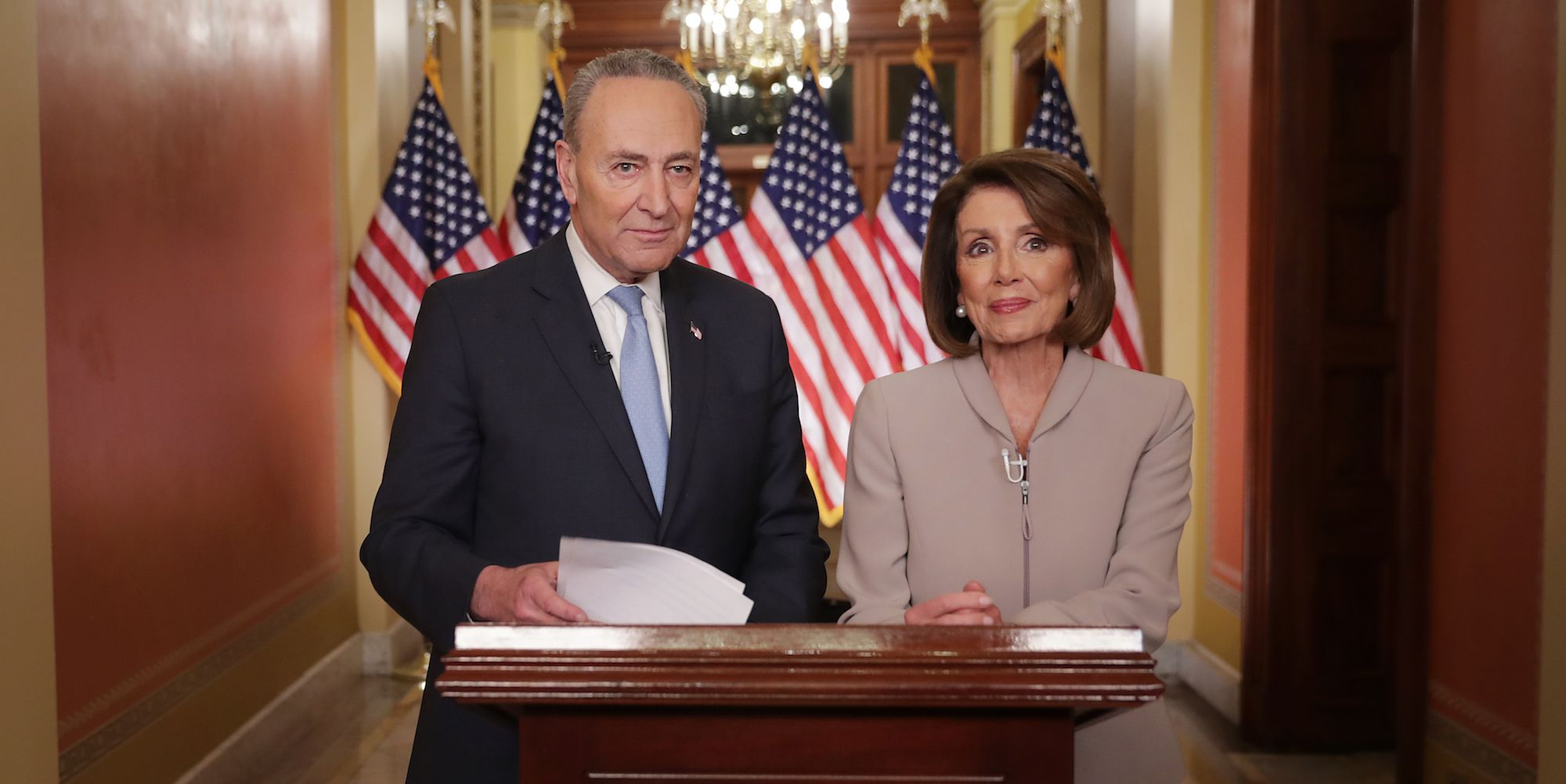 Democratic Leadership House Speaker Nancy Pelosi And Sen. Chuck Schumer Issue Response To President's Border Security Address