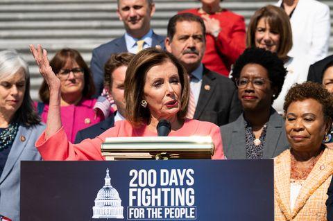 U.S Representative Nancy Pelosi (D-CA) speaking at a press