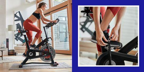 woman using schwinn indoor cycling bike