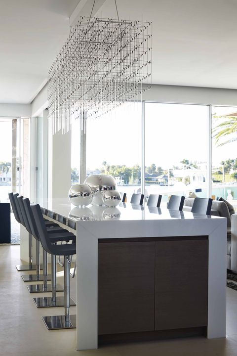 White, Room, Ceiling, Furniture, Interior design, Property, Dining room, Table, Lighting, Floor,