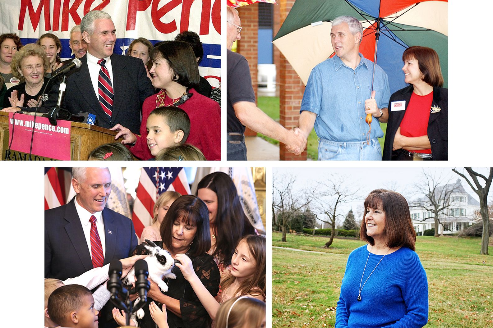 Mike and Karen Pence in 2000 (from top left), 2004, Februrary 2018, and Karen in May 2018.