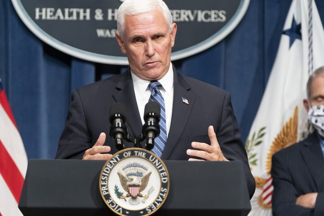 washington, dc   june 26 vice president pence speaks after leading a white house coronavirus task force briefing at the department of health and human services on june 26, 2020 in washington, dc cases of coronavirus disease covid 19 are rising in southern and western states forcing businesses to remain closed photo by joshua robertsgetty images