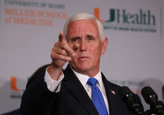 miami, florida   july 27 vice president mike pence speaks during a press conference at the the university of miami miller school of medicine on july 27, 2020 in miami, florida the vice president participated in a roundtable with university leadership and researchers on the progress of a coronavirus vaccine photo by joe raedlegetty images