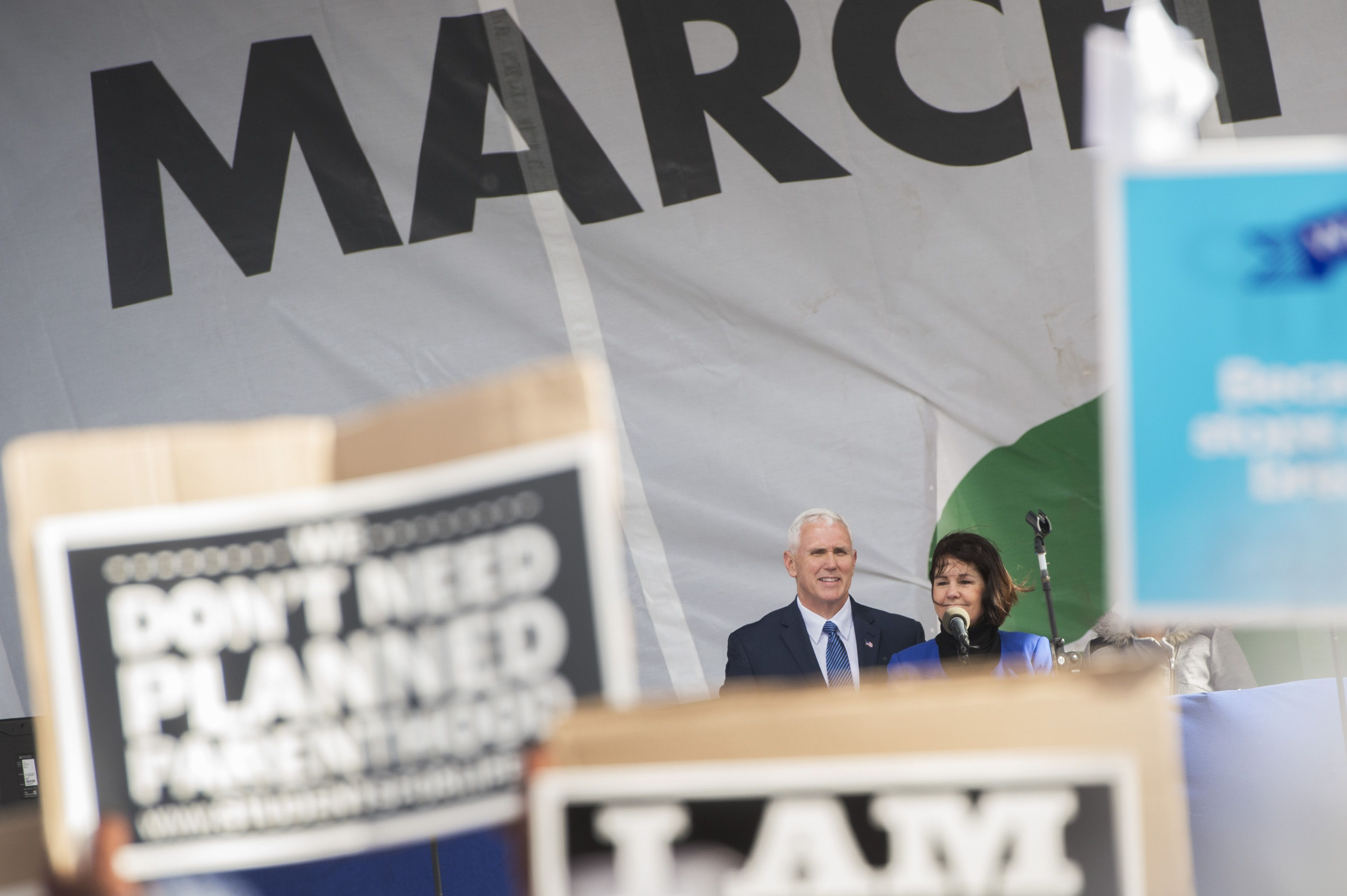 The Pences speak at the March for Life.