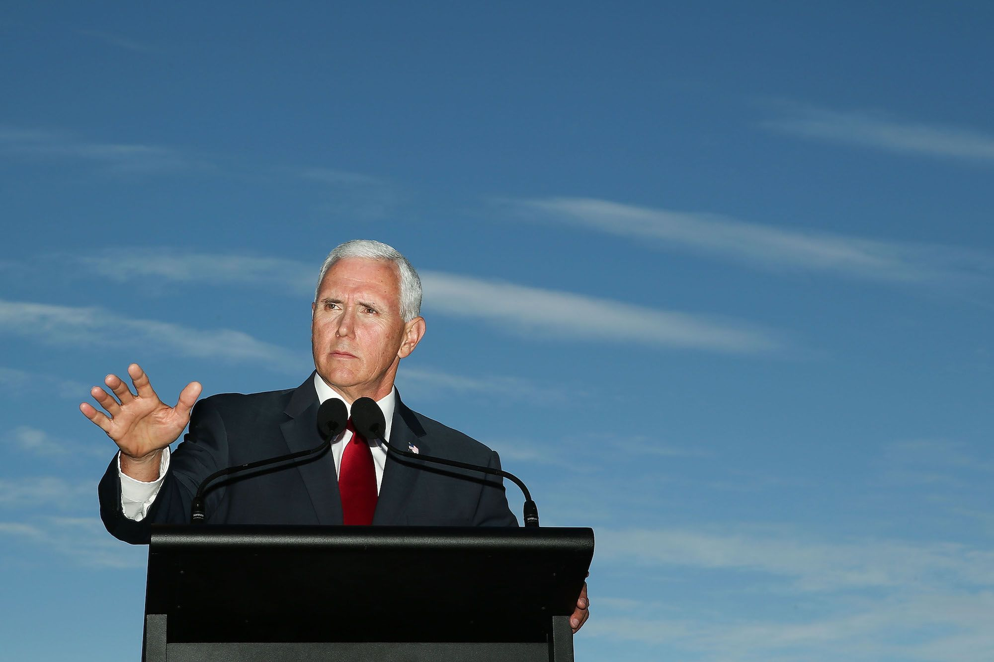 The vice president attempted to memorialize the victims of an anti-Semitic attack in Pittsburgh.