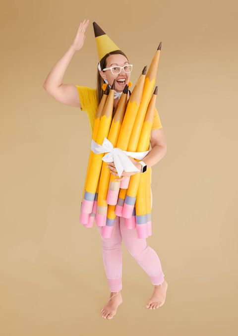 pencil costume made from pool noodles and paper