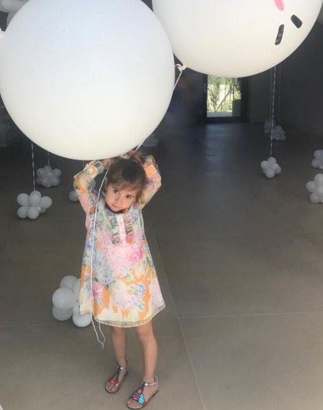 Balloon, Child, Party supply, Toddler, Room, Dress, Lighting accessory, Smile, Floor, Baby,