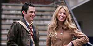 Blake Lively en Penn Badgley op de Gossip Girl-set