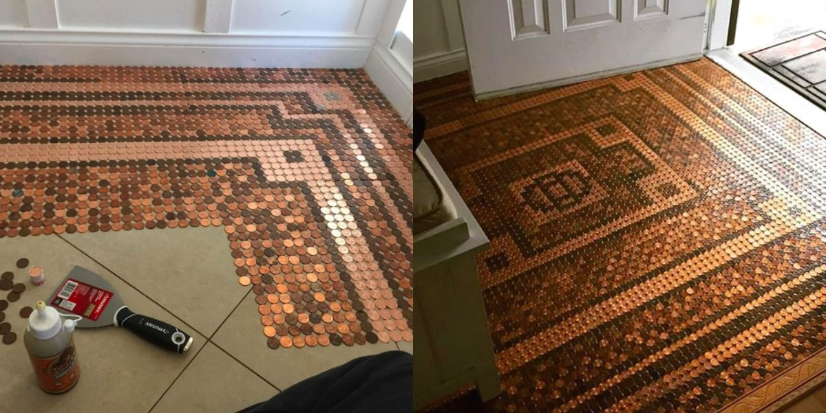 This Woman DIY'ed a Floor Out of 7,500 Pennies, and It's Stunning