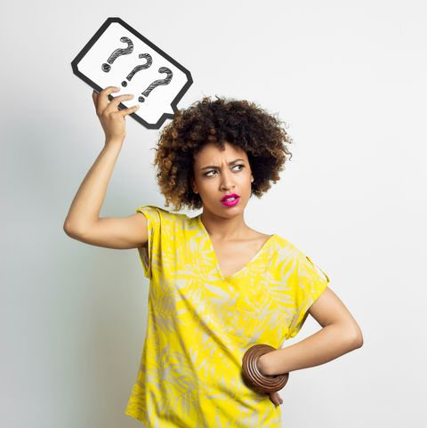 pensive afro woman with speech bubble