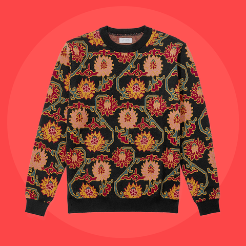 Clothing, Outerwear, Orange, Sleeve, Product, Sweater, Pattern, Top, Pattern, Design,