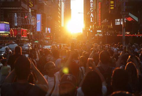 Manhattanhenge Sunset on 42nd Street in New York City