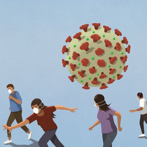 ilustración coronavirus con gente corriendo