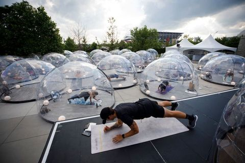 Pod Yoga Lets You Attend Yoga Class Inside A Plastic Dome