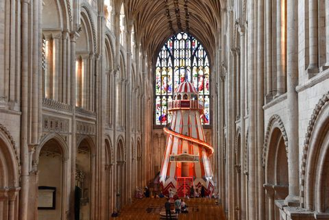 Helter skelter installed inside Norwich Cathedral