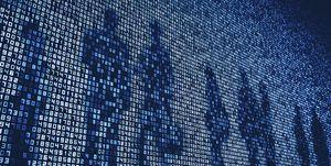 Peoples shadows on numbers on huge digital display screen wall