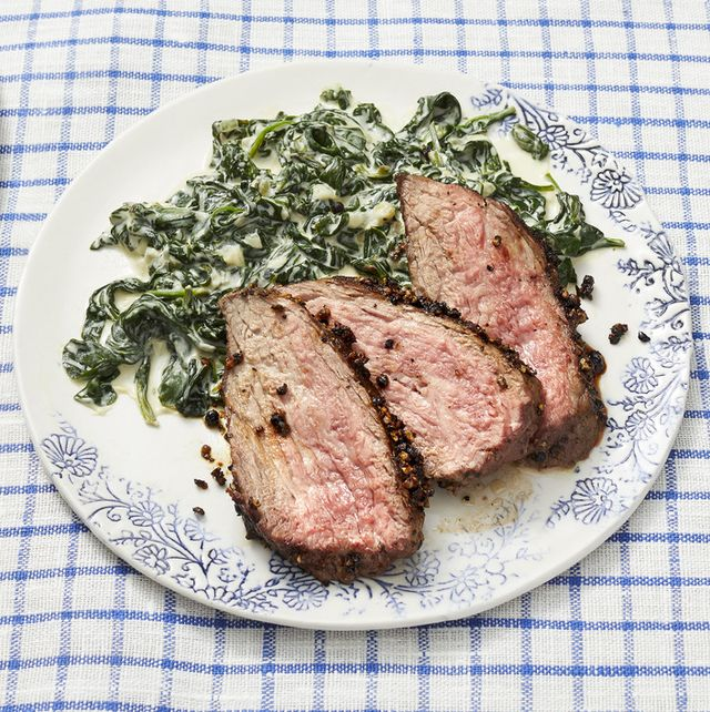 peppercorn crusted steak with creamed spinach