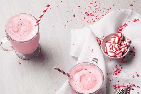 Food, Smoothie, Pink, Milkshake, Floats, Drink, Non-alcoholic beverage, Dessert, Frozen dessert, Cuisine,