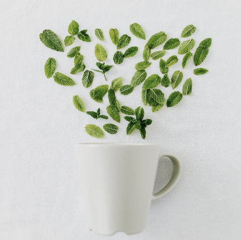 peppermint leaves fresh cut and scattered on white background with white mug making healthy herbal tea at home top view, isolated, copy space