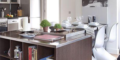Furniture, Room, Cabinetry, Interior design, Kitchen, Building, Shelf, Shelving, Table, Living room,