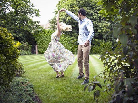 People in nature, Dress, Garden, Lawn, Gesture, Waist, Spring, Park, Love, Dance,