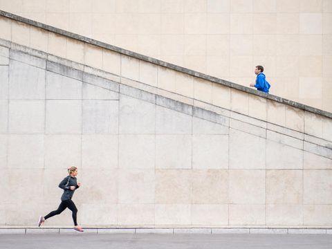 Standing, Wall, Line, Active pants, Running, Street fashion, Knee, Grey, Concrete, Pedestrian,