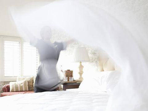 Room, Bed, Textile, Bedding, Interior design, Bedroom, Bed sheet, Linens, Lamp, Home,