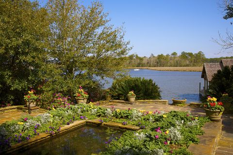 perennials and fountain outside bellingrath home at bellingrath gardens, mobile alabama
